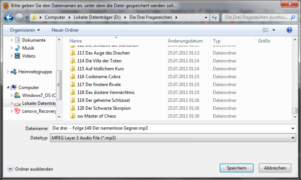 Heruntergeladene Datei speichern